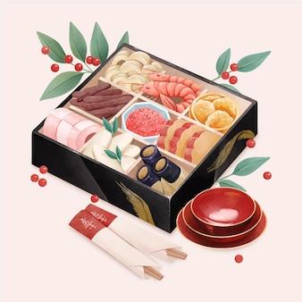 Ilustração em aquarela osechi ryori