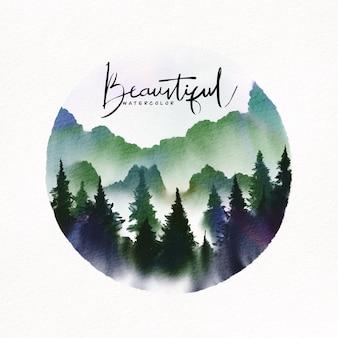 Ilustração em aquarela. paisagem de montanhas, árvores, céu, fundo aquarela