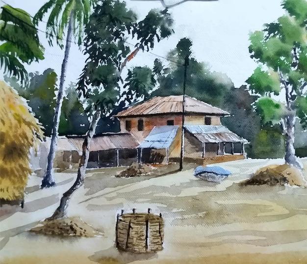 Ilustração em aquarela paisagem em casa de aldeia desenhada à mão