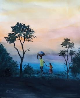 Ilustração em aquarela paisagem noturna