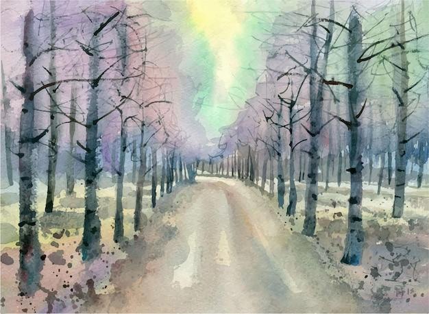Ilustração em aquarela paisagem outono na ilustração do parque