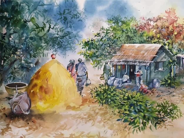 Ilustração em aquarela paisagem pintura desenhada à mão
