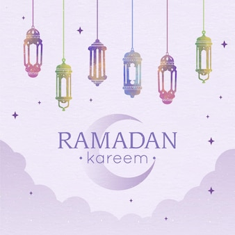 Ilustração em aquarela ramadan kareem