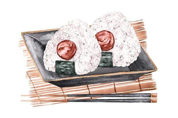 Ilustração em aquarela umeboshi onigiri