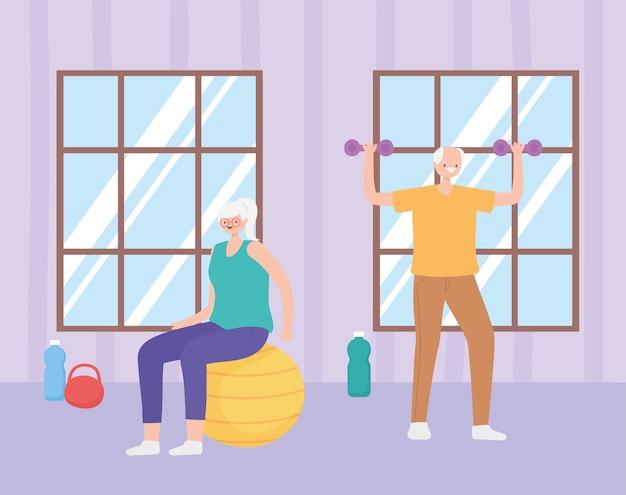 Ilustração em atividade de idosos, mulher mais velha e homem praticando exercícios com peso e bola na sala