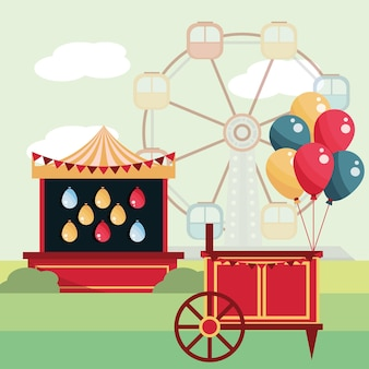 Ilustração em balões de cabine de tiro em carnaval de parque de diversões e roda gigante
