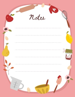 Ilustração em branco nota de cozinha