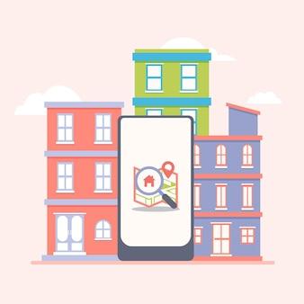 Ilustração em busca de imóveis com smartphone e edifícios