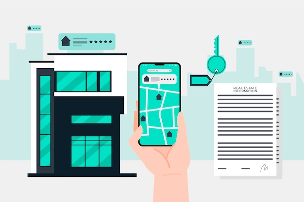 Ilustração em busca de imóveis com telefone