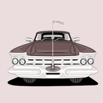 Ilustração em carros clássicos antigos