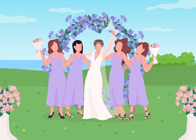Ilustração em cor lisa de noiva com damas de honra