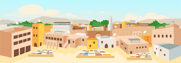 Ilustração em cor plana da cidade árabe antiga
