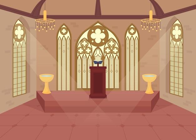 Ilustração em cor plana da igreja