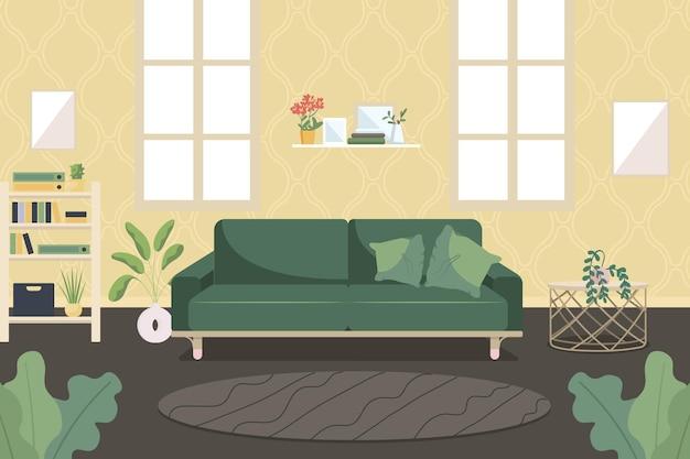 Ilustração em cor plana da sala de estar