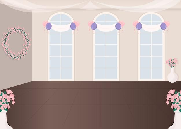 Ilustração em cor plana do salão de serviços de casamento