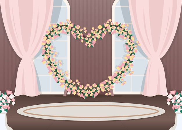 Ilustração em cor plana do salão do casamento