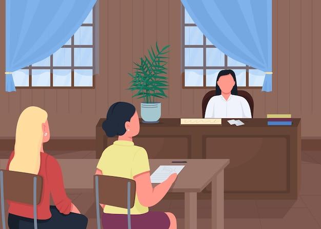 Ilustração em cor plana do tribunal