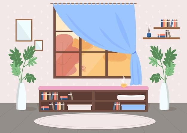 Ilustração em cor plana em quarto aconchegante