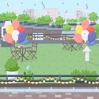Ilustração em cor plana no terraço decorado na cobertura