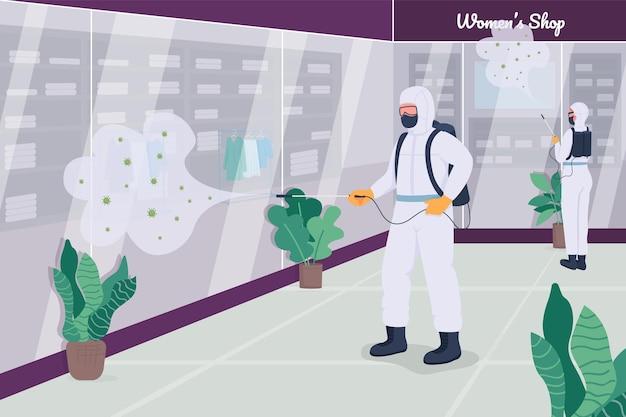 Ilustração em cor plana para desinfecção de loja