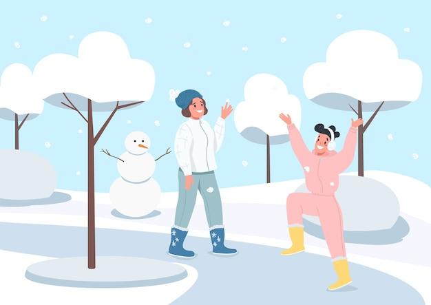 Ilustração em cores planas da atividade de inverno