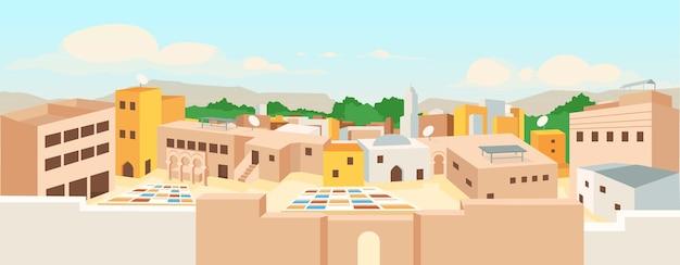 Ilustração em cores planas da cidade árabe antiga