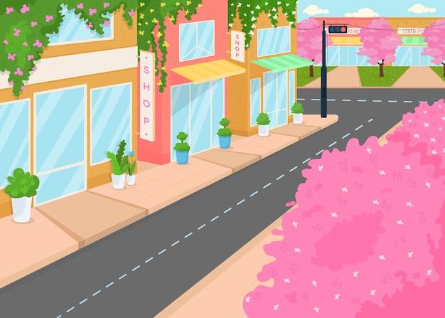 Ilustração em cores planas da cidade florescendo