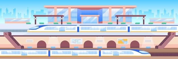 Ilustração em cores planas da estação de trem