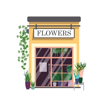 Ilustração em cores planas da floricultura