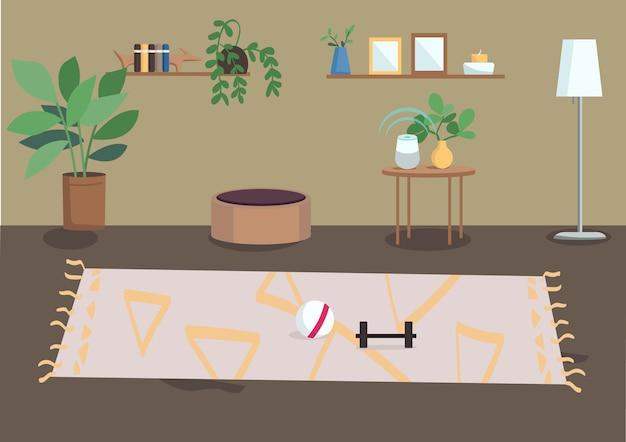 Ilustração em cores planas da sala de estar casa residencial mobiliada casa espaçosa planta de casa em vasos e molduras para fotos nas prateleiras interior dos desenhos animados do apartamento d com decoração no fundo