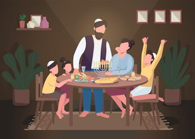 Ilustração em cores planas de hanukkah