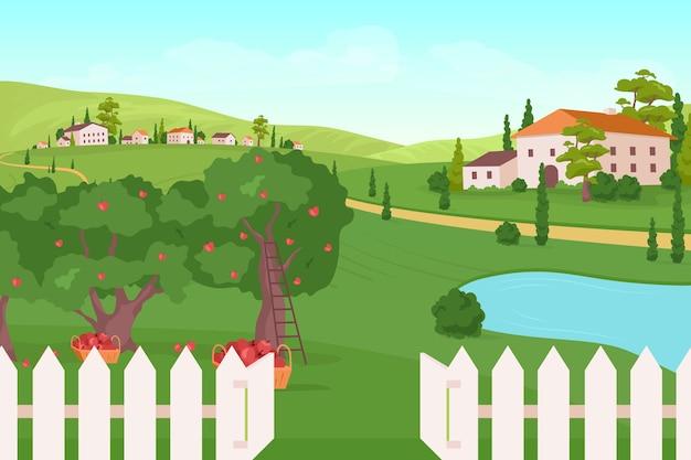 Ilustração em cores planas de terras agrícolas