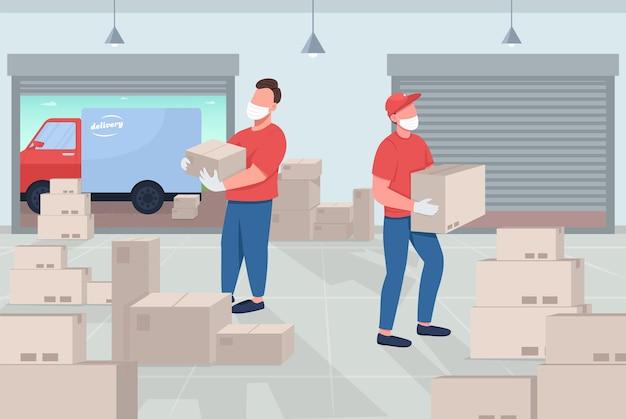 Ilustração em cores planas do armazém de correio