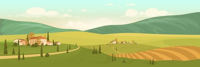 Ilustração em cores planas do cenário natural do outono