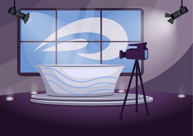 Ilustração em cores planas do estágio de filmagem de notícias