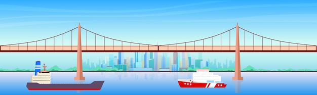 Ilustração em cores planas do porto da cidade