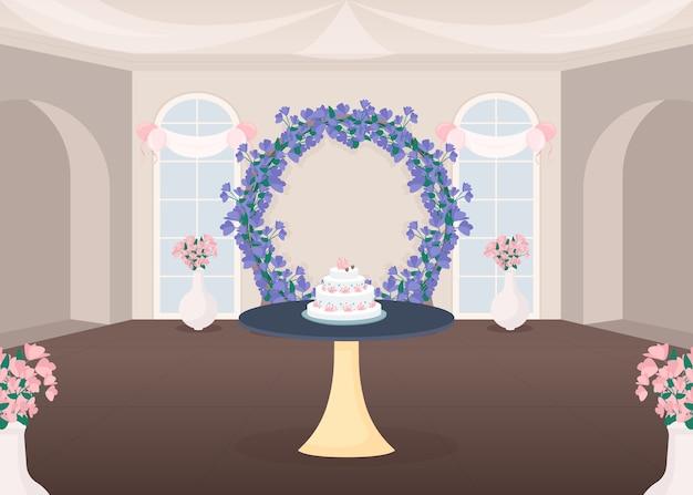Ilustração em cores planas do salão de banquetes