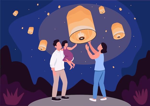 Ilustração em cores planas do sky lantern festival