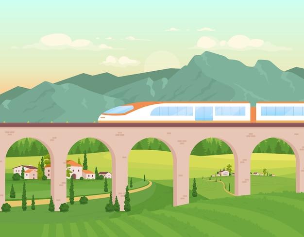 Ilustração em cores planas do trem expresso