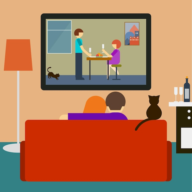 Ilustração em cores vivas em um estilo moderno e simples com um casal e um gato assistindo a um filme romântico na televisão, sentados no sofá da sala