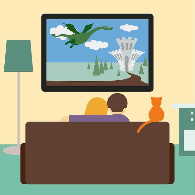 Ilustração em cores vivas em um estilo moderno e simples com um casal e um gato assistindo ao filme de aventura na televisão, sentados no sofá da sala