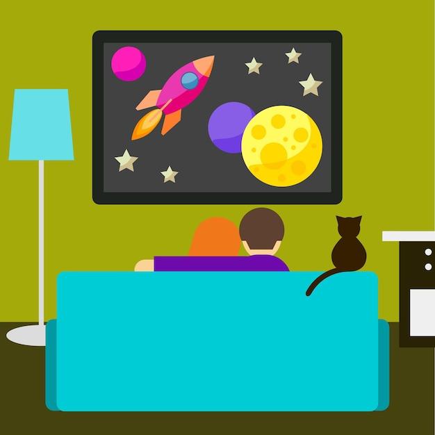 Ilustração em cores vivas em um estilo moderno e simples com um casal e um gato assistindo ao filme de ficção científica na televisão, sentados no sofá da sala