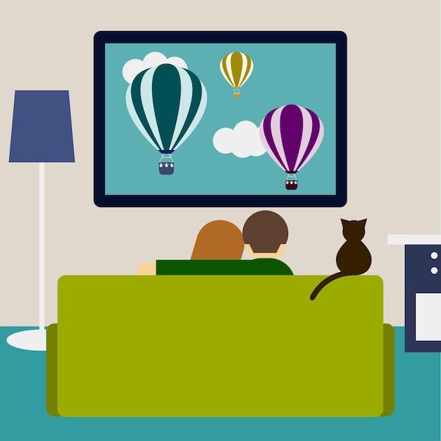 Ilustração em cores vivas em um estilo moderno e simples com um casal e um gato assistindo filme na televisão, sentados no sofá da sala