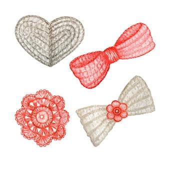 Ilustração em crochê de coração cinza, laço, flor vermelha