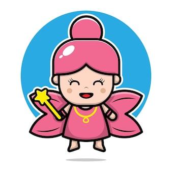 Ilustração em desenho animado bonito bonito de personagem de fada