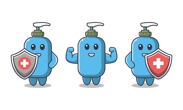 Ilustração em desenho animado com desinfetante para as mãos contra vírus