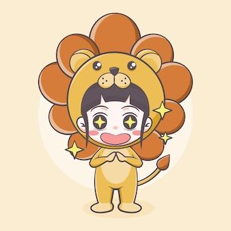 Ilustração em desenho animado com fantasia de leão fofo
