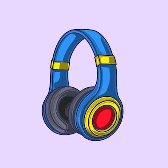 Ilustração em desenho animado com fone de ouvido colorido