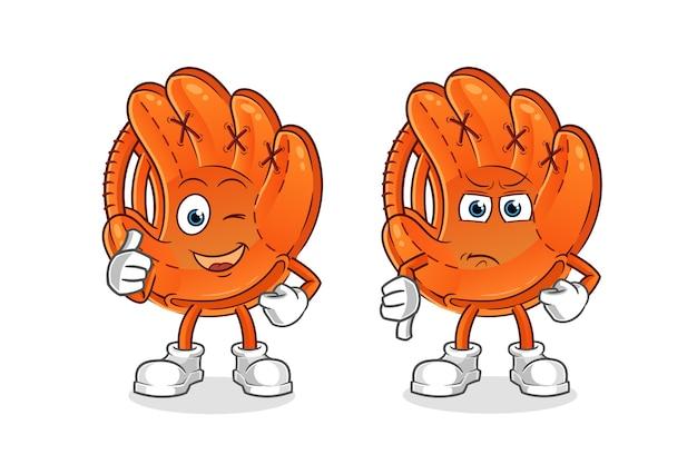Ilustração em desenho animado com luva de beisebol com os polegares para cima e para baixo