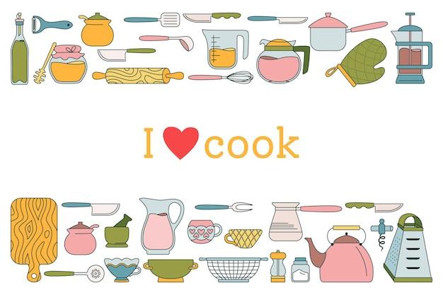 Ilustração em desenho animado da linha de ferramentas de cozinha
